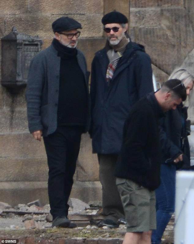 Cosy:James Bond director Sam Mendes was seen on set for the first time on Tuesday, as filming began for his new World War One epic 1917