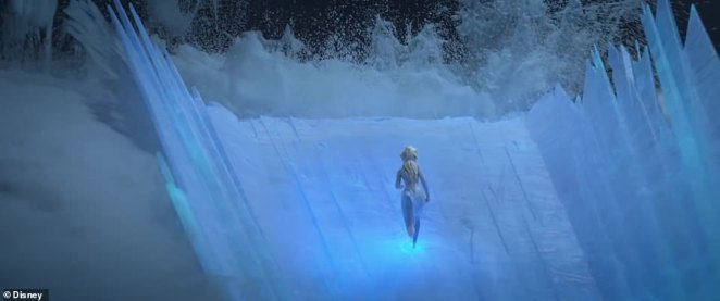 Staring into danger: The dramatic and dark trailer begins with Elsa staring into a volatile ocean breaking gigantic waves in front of her