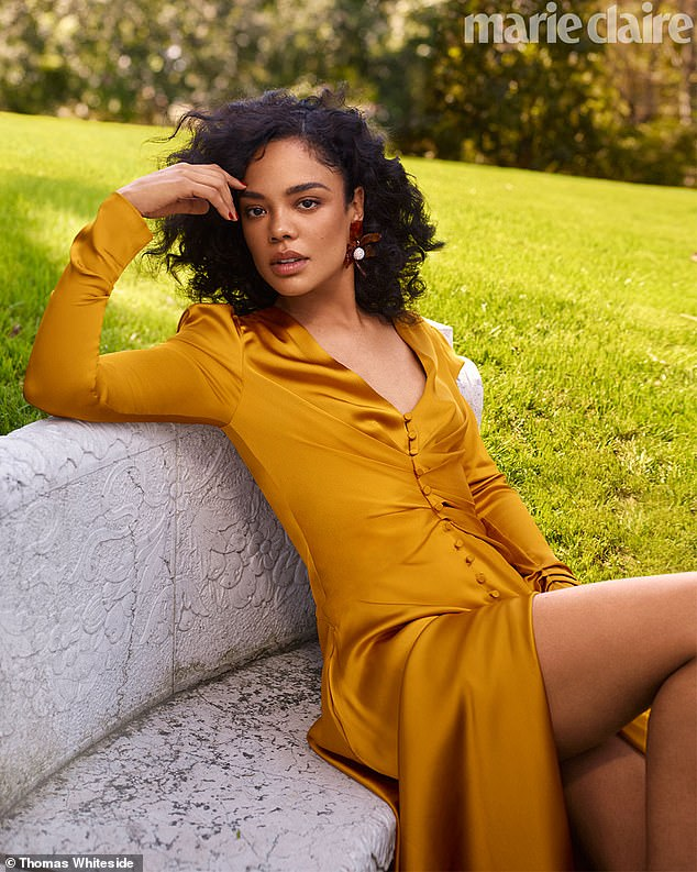 Gorgeous: Tessa Thompson appears in a sultry shoot for Marie Claire on Tuesday, while speaking about the Time's Up movement as a woman of color