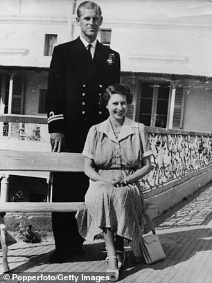 The Queen lived on the island while Philip served on HMS Chequers with the Royal Navy Mediterranean Fleet (left at the villa in 1950)