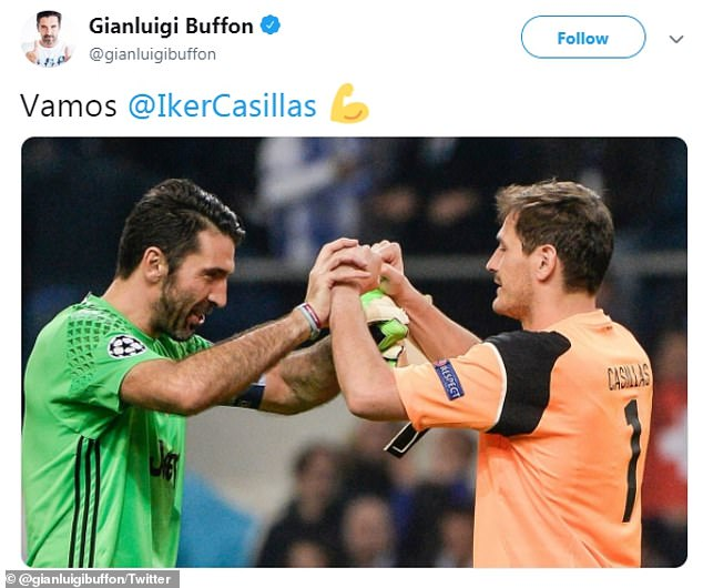 Buffon posted a photo of himself with Casillas and the message 'come on' after his heart attack