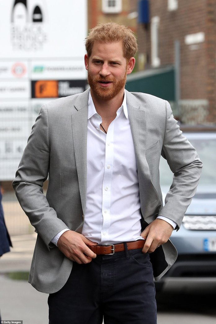 The charity campaign will raise vital funds, £40 million, to support sports provision and grassroots clubs and organisations in disadvantaged communities across the UK. Pictured, Harry arriving at the launch