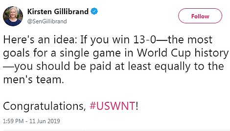 Senator Kirsten Gillibrand uses the opportunity to argue for equal pay