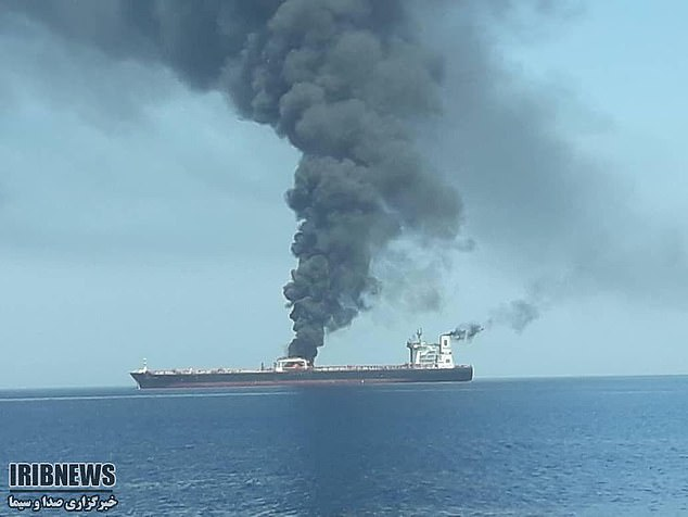 This picture is being released by Iran's state broadcaster on the Gulf of Oman