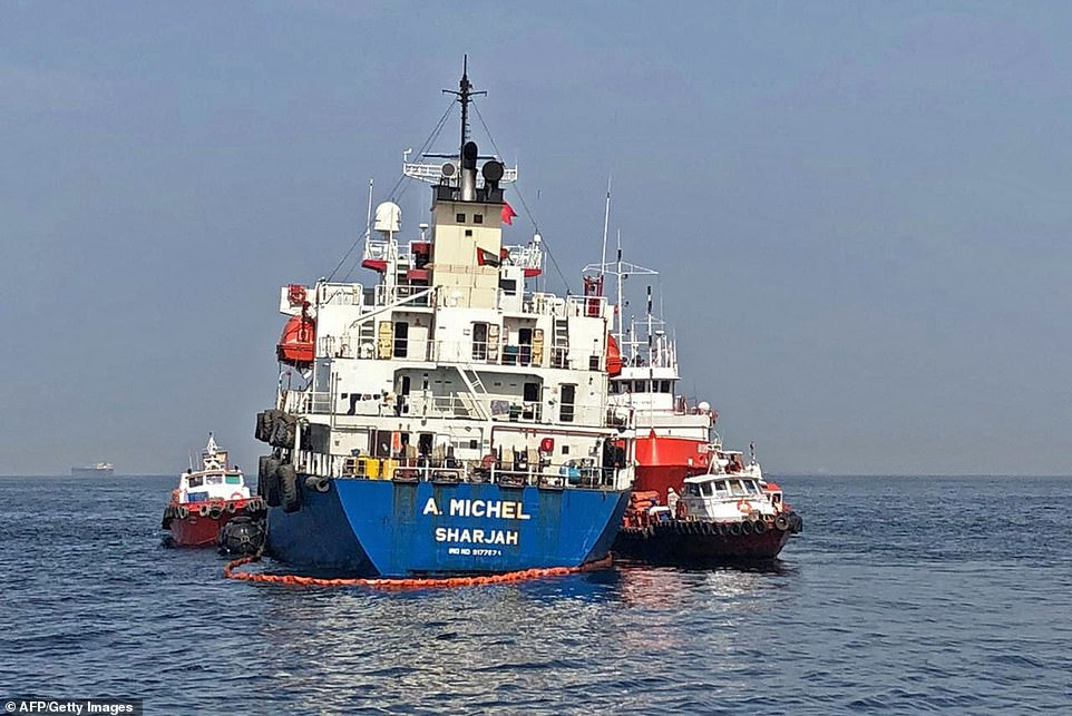 Two oil tankers are said to have been targeted with explosions today just weeks after four vessels were attacked in the Middle East (pictured, one of the tankers damaged in last month's acts of sabotage)