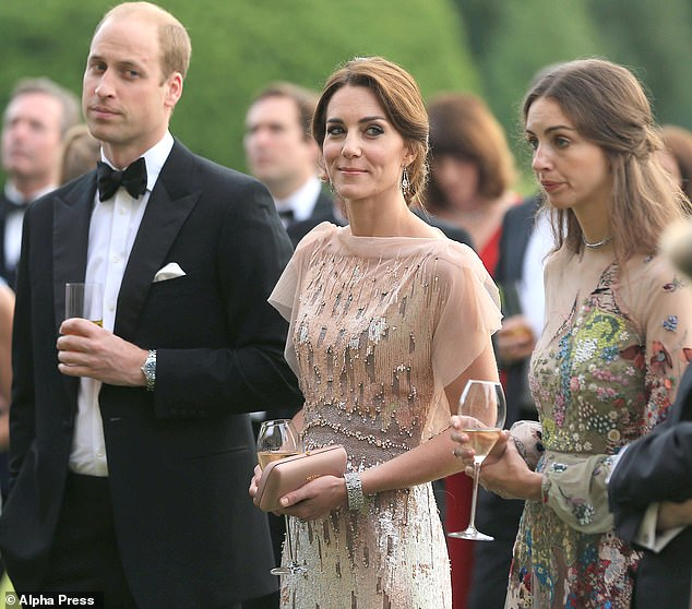As they were: Kate and William with the Marchioness of Cholmondeley at Houghton Hall in 2016 for a charitable dinner for a local hospice