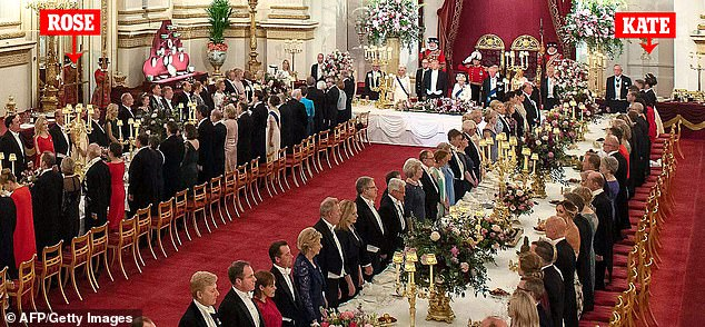 Far from each other: The Duchess and the Marquiseur stand at the banquet for Donald Trump on opposite sides of the room