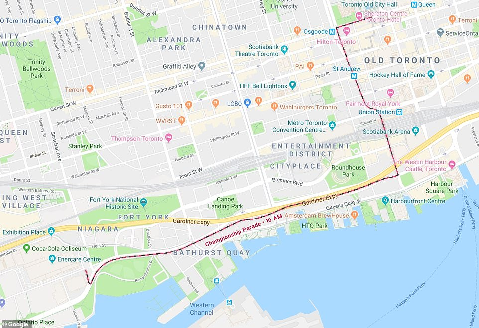 The Raptors' victory parade began along the shores of Lake Ontario and ended with a rally atNathan Phillips Square in front of Toronto's City Hall