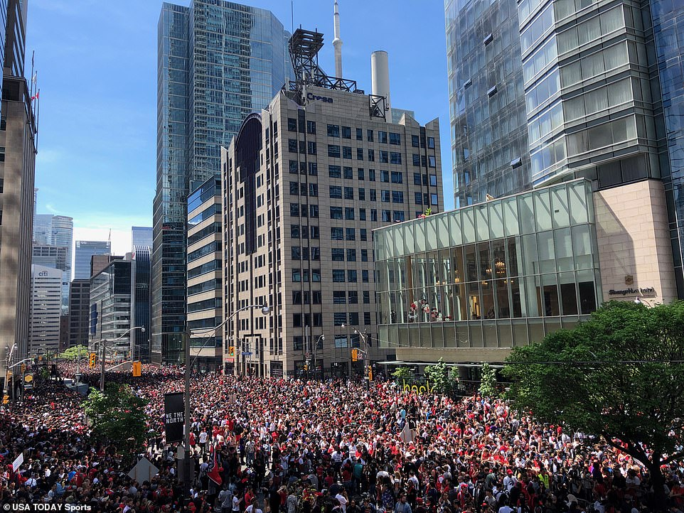 Millions are said to have turned out at the event to celebrate the Toronto Raptors historic NBA win on Monday