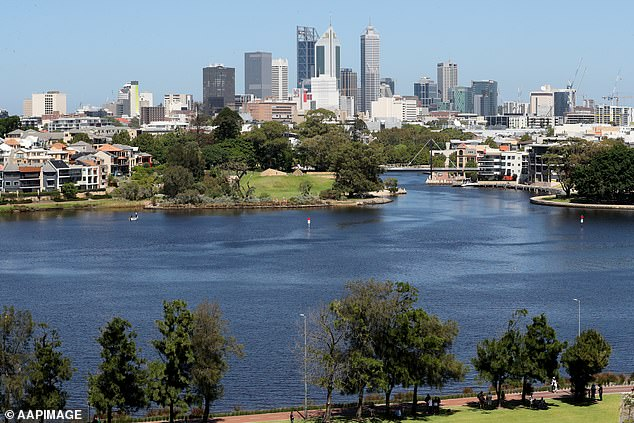Median values dropped by an annual pace of 2.7 per cent in Perth (pictured) to reach $490,000
