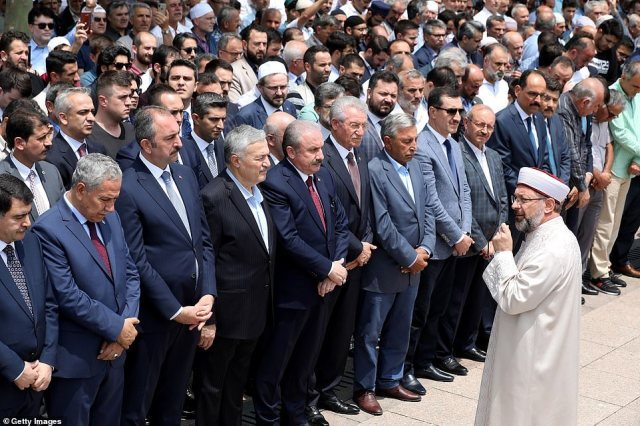 Turkish leader Recep Tayyip Erdogan was one of Morsi's closest allies during his short tenure as president, and one of the fiercest international critics of the coup that toppled him (pictured, prayers in Ankara)