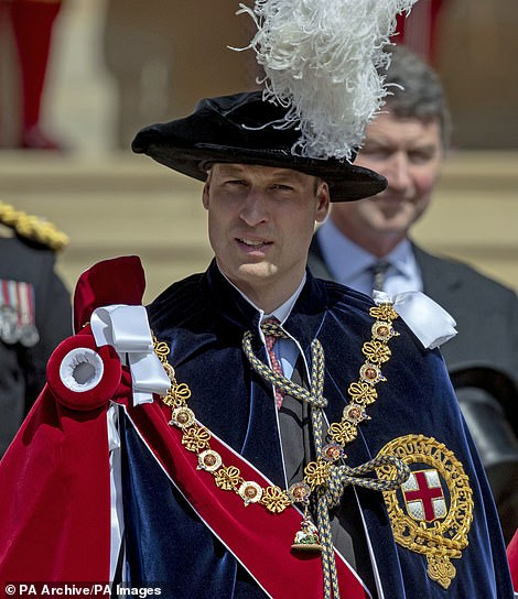 The Duke of Cambridge leaves St George's Chapel, in Windsor Castle, after attending the annual Order of the Garter Service