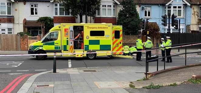 A member of the Duke and Duchess' team from Kensington Palace has also been to see family members to express their concern. Pictured, an ambulance moments after the collision