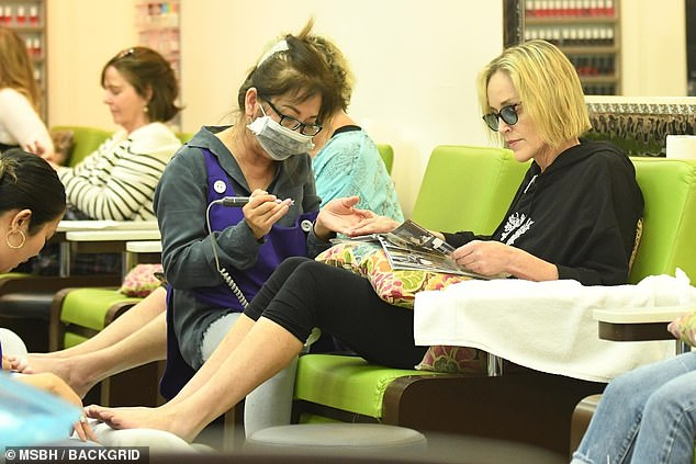 Star power: The Basic Instinct star was spotted at the same salon in May when she found herself seated next to and chatting with former Real Housewives Of Beverly Hills star Lisa Vanderpump