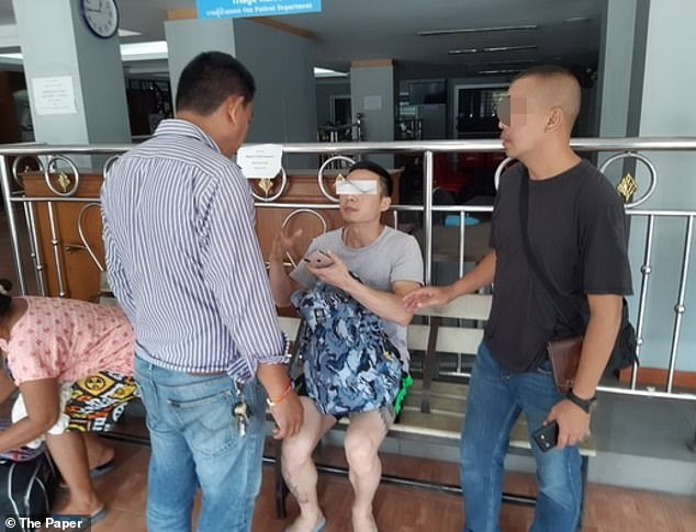 Following an investigation, Wang finally provided a new account and accused her husband, Yu Xiaodong (pictured), 33, of pushing her off the cliff because he wanted her fortune of 100 million baht (£2.5 million) to pay off his debts