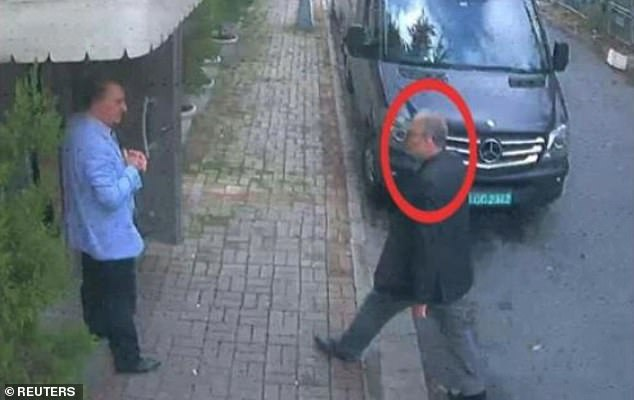Last seen: Khashoggi, a critic of Prince Mohammed, was murdered at the Saudi consulate in Istanbul on October 2. He is pictured entering the consulate that day