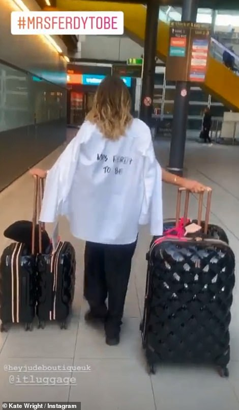 Who's that girl? Kate stood out at the airport with a personalised white shirt by Hey Jude that had 'Mrs Ferdy to be' printed on the back