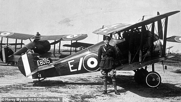 An Royal Flying Corps officer in the First World War, with his Sopwith Snipe biplane