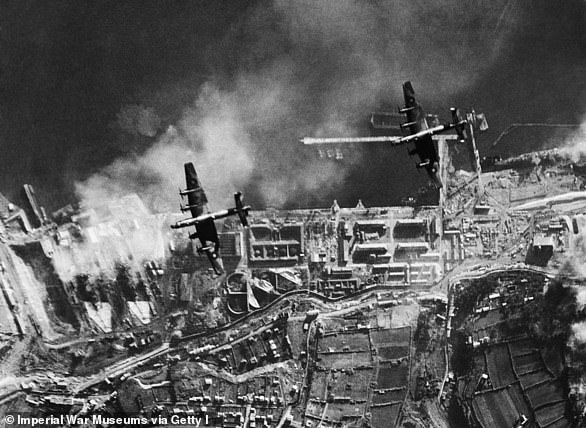 Aerial photograph of an RAFattack on German warships docked at Brest, France