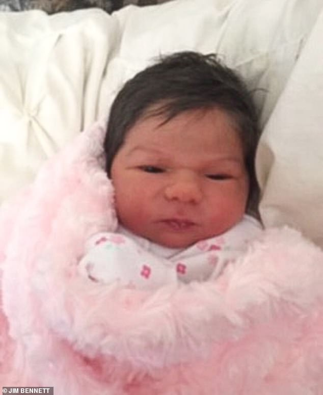 Even as a newborn Dolly, pictured, had lots of hair which left her mother and midwives stunned