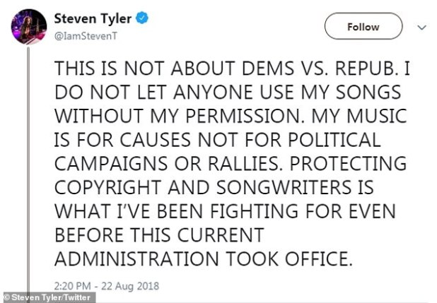 'This is not about Dems vs. Rep': and Aerosmith has repeatedly sent cease and desist warnings to the former Democrat for using Dream On and Livin 'on the Edge in their rallies in 2015 and 2018