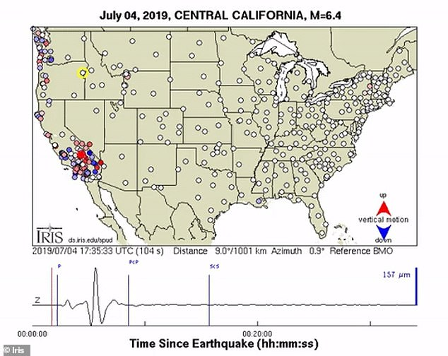 Friday's 7.1-magnitude quake was the biggest felt since the Hector Mine earthquake in 1999. It triggered sensitive seismological sensors across the contingent US, with a video from the USArray revealing how the tremor was felt across the US