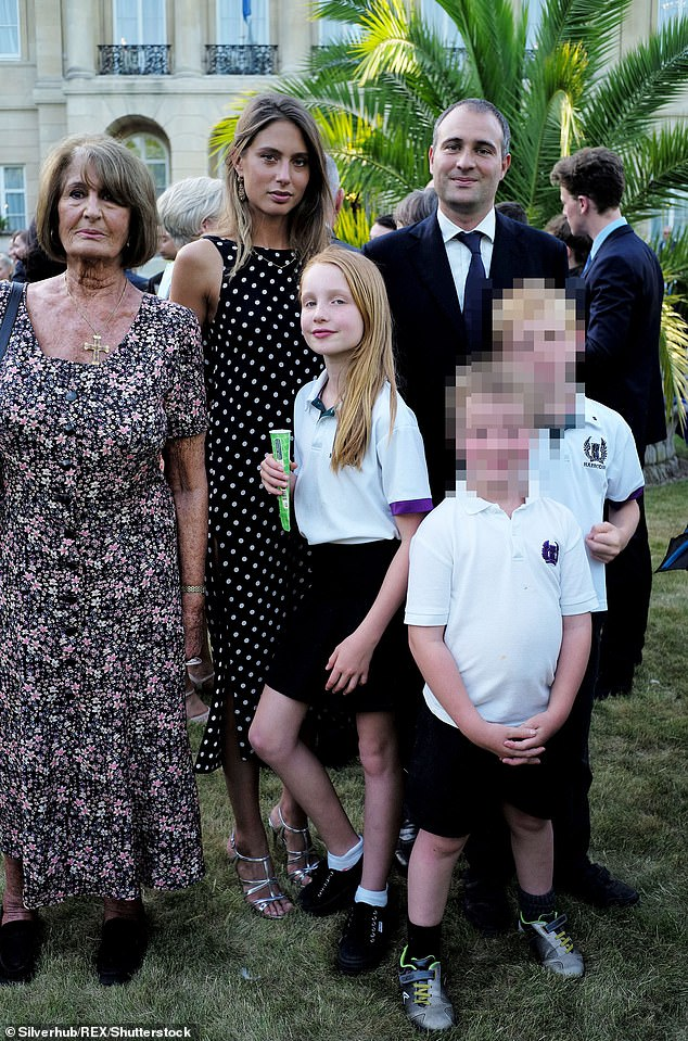 Millionaire CEO Ben Goldsmith (pictured with his mother Lady Annabel and his wife with Iris) split with first wife Kate in 2012 and has since wed Jemima Jones (pictured to his left)