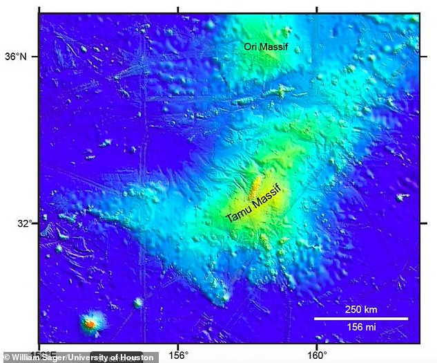 The extinct underwater volcano Tamu Massif (pictured) has been stripped of its title of 'world's largest volcano' afterscientists discovered it was formed by seafloor spreading instead of a single eruption