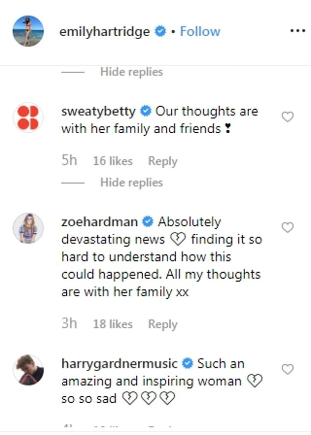 Television presenter Zoe Hardman wrote: 'Absolutely devastating news. Finding it so hard to understand how this could have happened. All my thoughts are with her family'