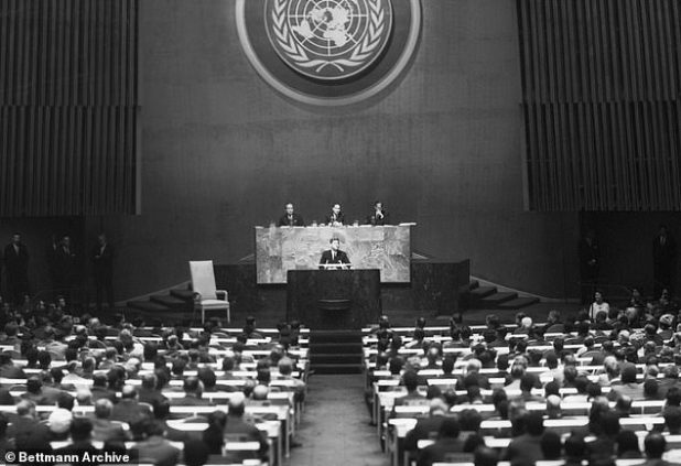 Kennedy (on the podium) made his second overture to Khrushchev during a speech at the United Nations in September 1963, just two months before he was killed.