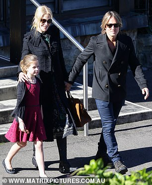 So sweet! Meanwhile, Faith looked sweet in a pleated lace lace dress, black cardigan and matching ballerina flats