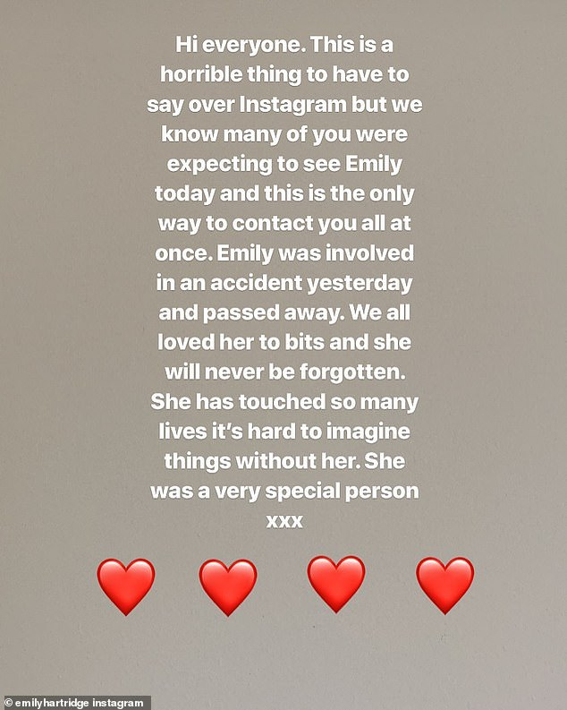A message posted on her Instagram page announced the news to her thousands of fans