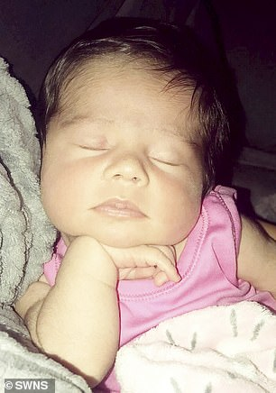 Midwives at Burnley General Hospital were also gobsmacked as they had never seen a newborn with so much hair, according to the mother-of-two. Pictured: Tia, now
