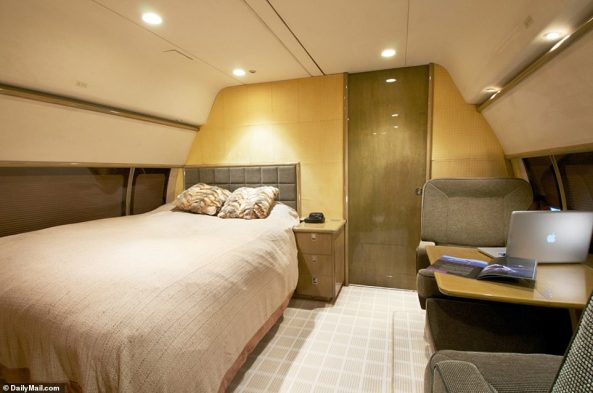 This comes as DailyMailTV can reveal a series of new photos taken of the upgraded interior of the 50-year-old 727 jetliner. Victims have since claimed Epstein had a large bed installed on the jet where guests had group sex with young girls, fulfilling their warped fantasies