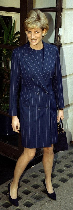 Diana, Princess of Wales, wears pinstripes as she leaves after a speech at the annual meeting of the youth charity Centrepoint