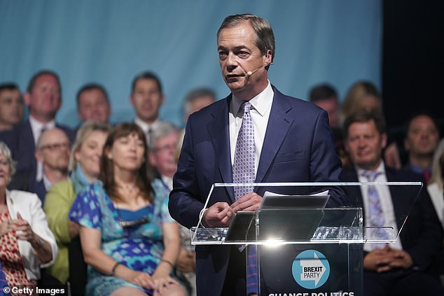 Since April, Steven Edginton has worked for the Brexit Party (Nigel Farage pictured at a party rally), helping run its social media feeds