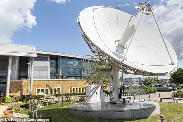 Mr Edginton says that one of Ms Oakeshott's assistant's had his Snapchat account accessed from a location near Gloucester, the base of GCHQ (headquarters pictured)