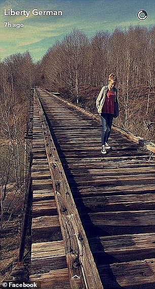 German posted this Snapchat photo of Williams (pictured) at Monon High Bridge Trail close to when they started hiking on February 13
