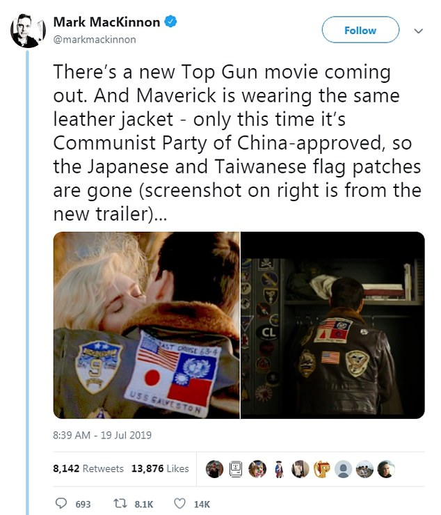 Eagle-eyed Twitter users noticed the change and blamed China's government for imposing politics on the film