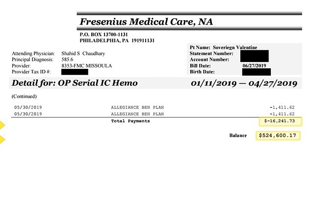 Fresnius, the clinic where Valentine received dialysis, has offered a 50 percent discount, which lowers the bill to $262,400.08. Pictured: The initial bill the Valentines received