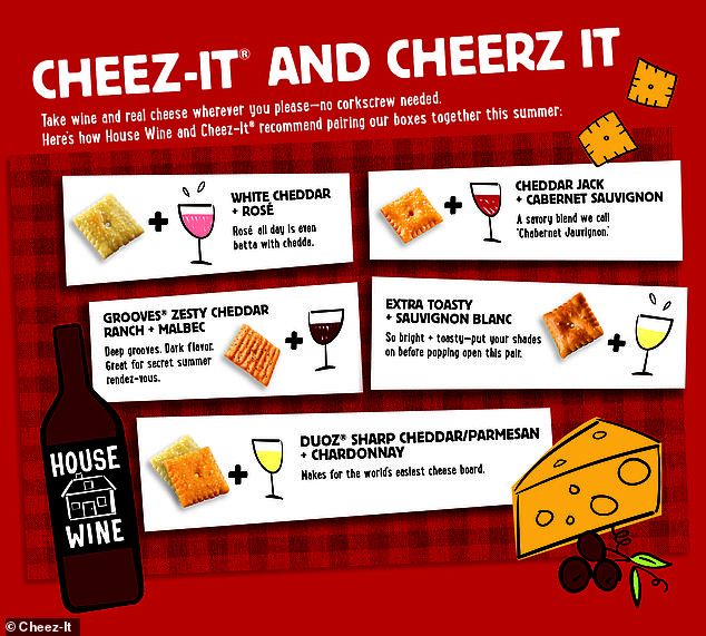 Handy! Cheez-It and House Wine also curated custom pairings for a variety of tastes