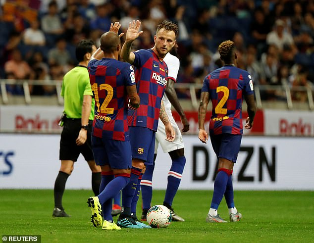 Ivan Rakitic pulled a goal back for the Spanish giants with a thunderbolt in stoppage time