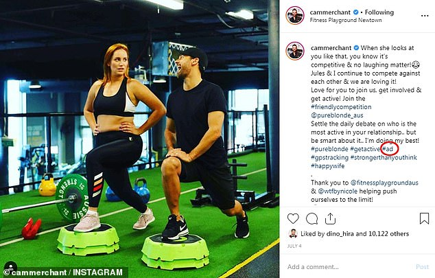 Playing by the rules: To comply with the regulations, influencers can use hashtags such as '#ad' and '#sp' in their captions. Pictured: A sponsored post by MAFS' Cameron Merchant (pictured with Jules Robinson) for Fitness Playground that includes the hashtag '#ad' (circled)