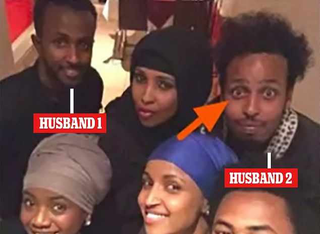 The bust-up comes just as critics are demanding answers as to whether she married her own brother in a successful bid to get him into the United States. Pictured: Omar with Ahmed Hirsi (left) and second husband Elmi (right)