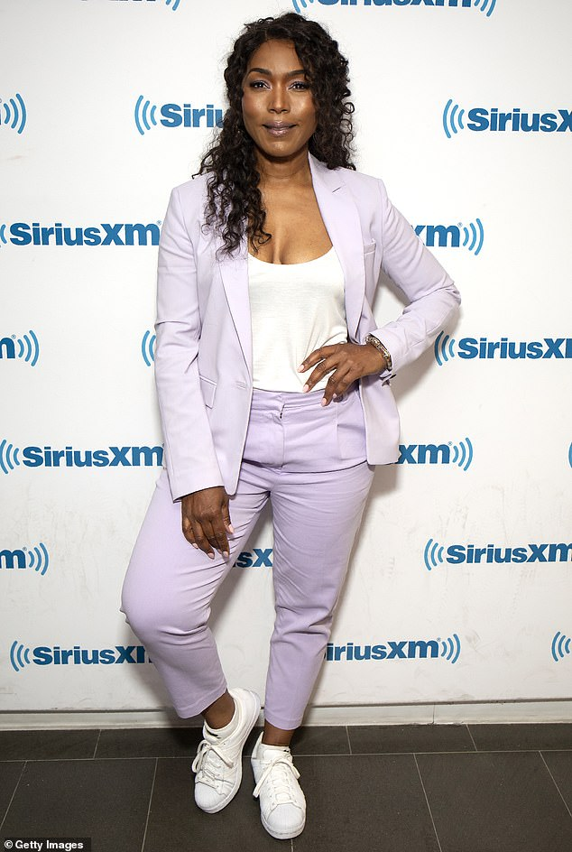 Androgynous chic: Bassett later stopped by SiriusXM, sporting another chic ensemble that leaned more toward androgynous