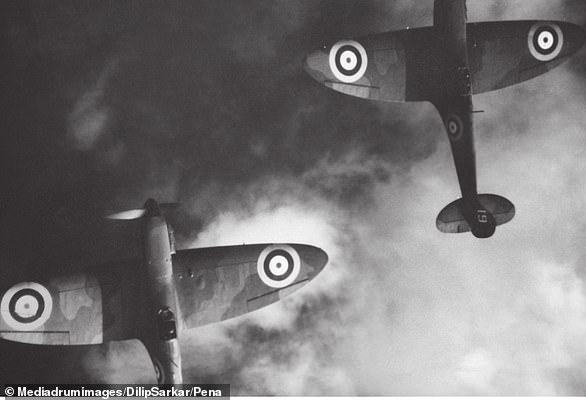 'Never in the field of human conflict was so much owed by so many to so few' (pictured: An aerial photograph of Spitfires)