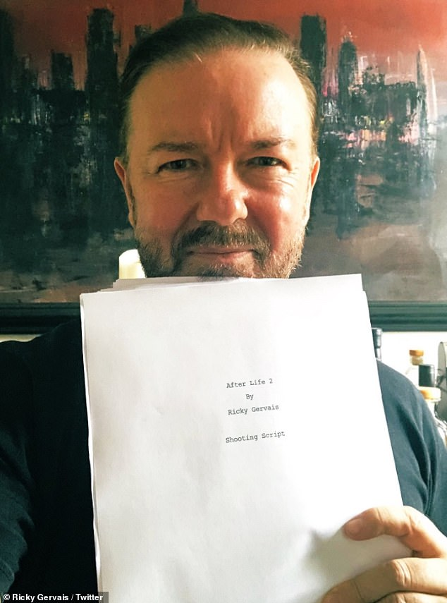 Ready to go: The versatile actor has won praise for his work on the Netflix black comedy about provincial journalist Tony, played by Gervais, whose comfortable, settled life is torn apart following the death of his wife to breast cancer