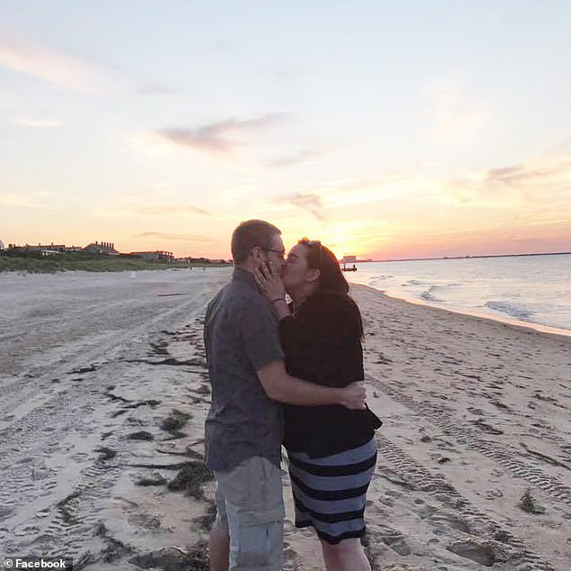 Josh and Rose (left and right) got engaged in the summer of 2017 in Virginia Beach (pictured) and hoped to save money for their dream wedding in a rustic barn