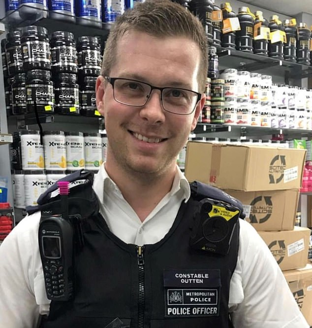 PC Stuart Outten, 28, was knifed with a machete in Leyton, London, on Thursday. His heroism led many to brand PC Outten as 'the hardest bobby in Britain'