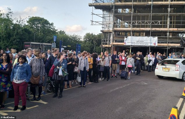A queue at Letchworth Garden City, Hertfordshire during the power outage which affected large swathes of the country